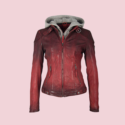 rote Vintage-Lederjacke
