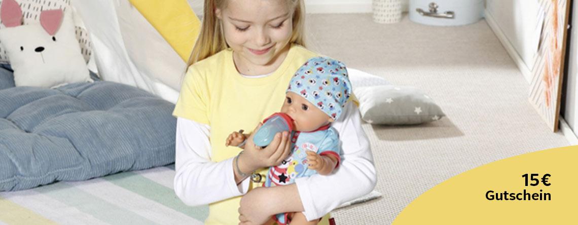 Spielzelt, Kissen, Puppe mit 15 Euro Gutschein-Beschriftung