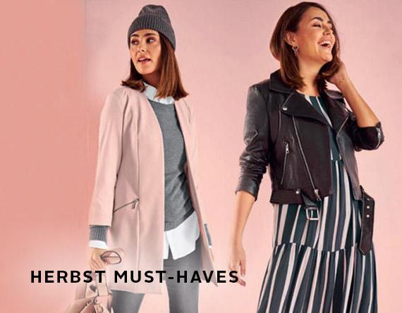 rosa Jacke, graue Mütze, schwarze Lederjacke, Streifenkleid