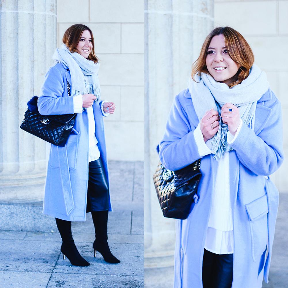 Outfit in Serenity Kontrastfarben Schwarz und Weiß