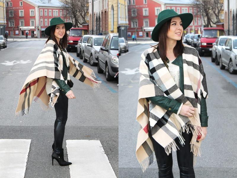 Frau mit XL Schal, seitlich und Front