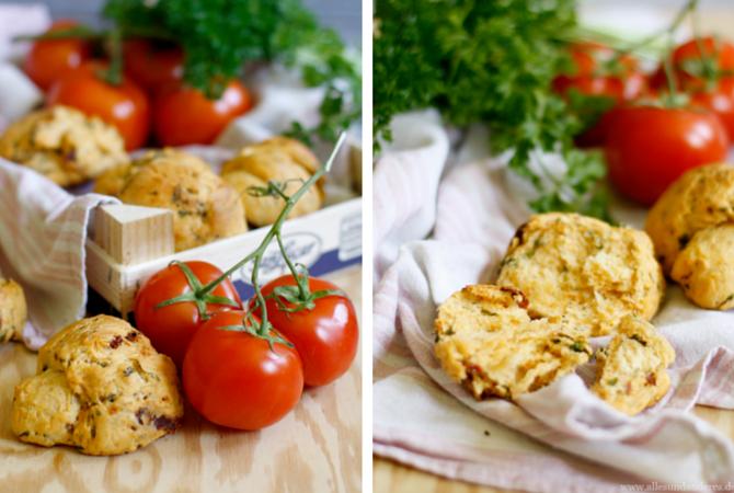 Brötchen mit Tomaten und Petersilie