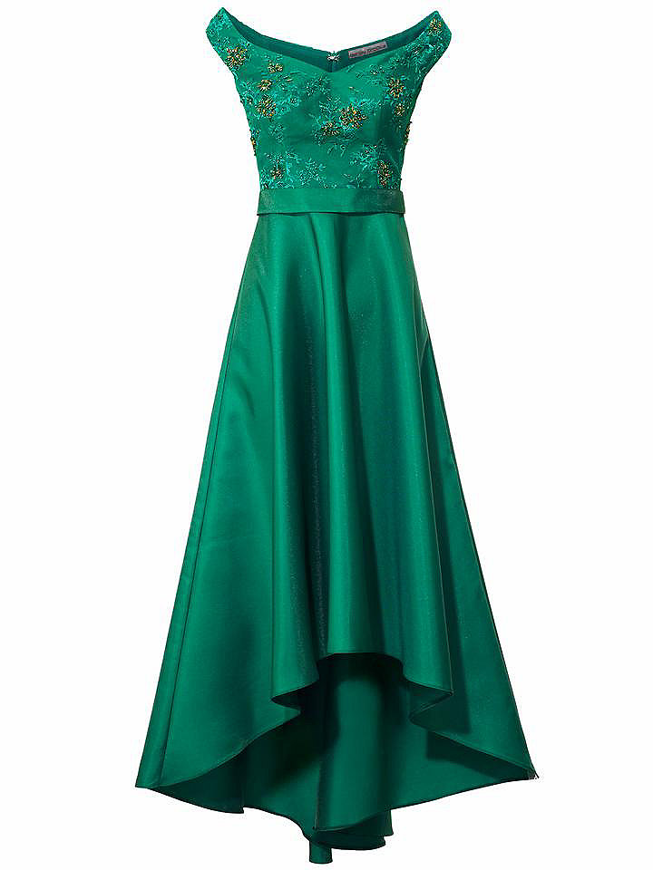 Märchenhafte Ballkleider: Grünes Kleid mit Stickereien und Glitzersteinen