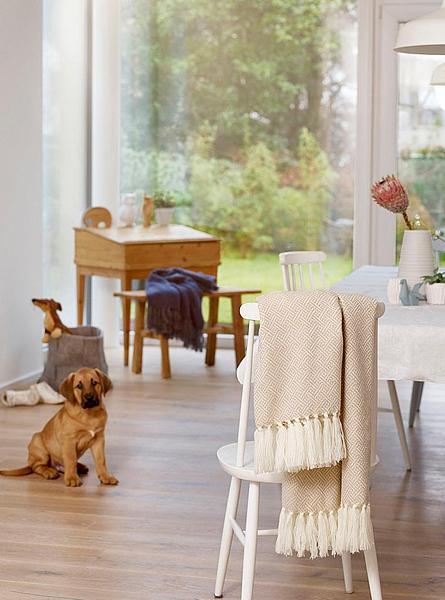 Gemütliches Zuhause: Decke in Camel mit feinen Streifen