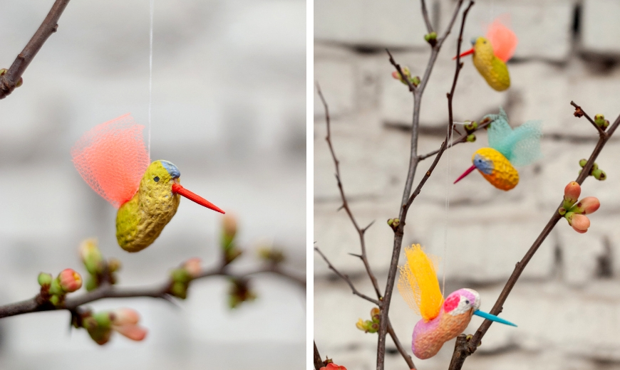 bemalte Erdnüsse als Vogel
