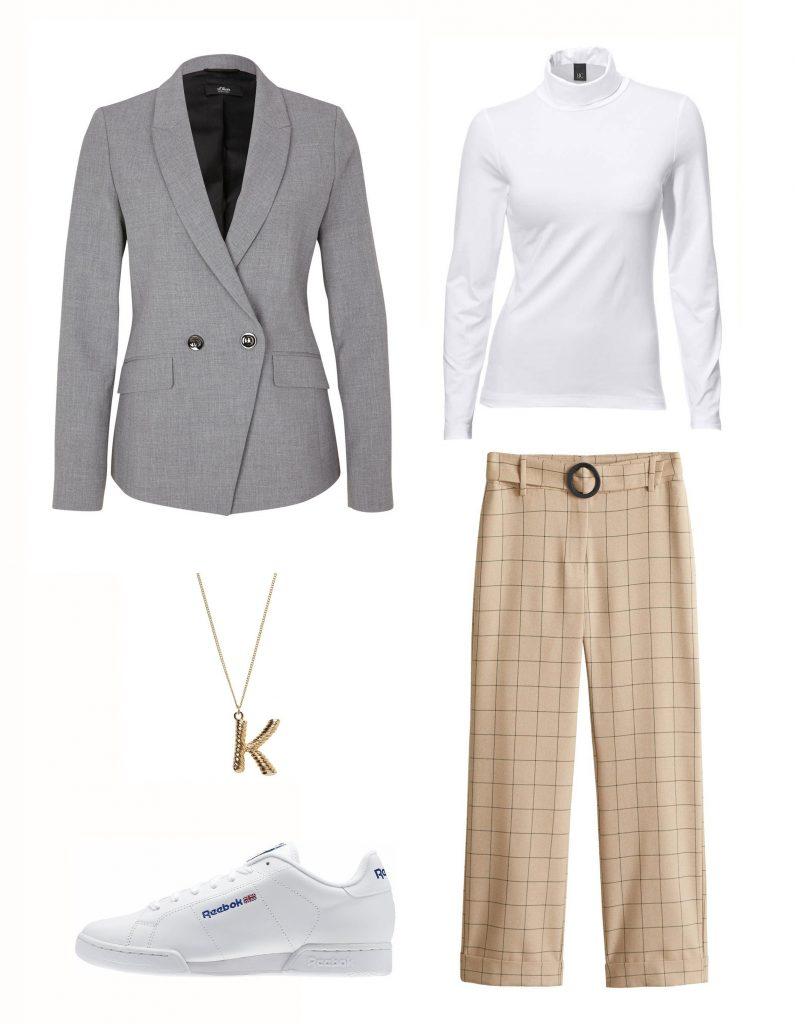 Collage mit Hose, T-Shirt, Blazer, Schuhe, Shirt und Kette